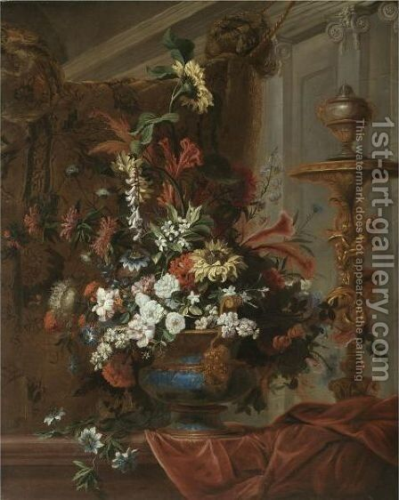 Still Life With A Bouquet Of Flowers In An Elaborate Brass Urn Standing In A Palatial Interior by (after) Jean Baptiste Belin De Fontenay - Reproduction Oil Painting