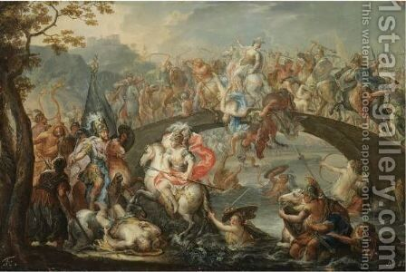 The Battle Of The Amazons by Johann Georg Platzer - Reproduction Oil Painting