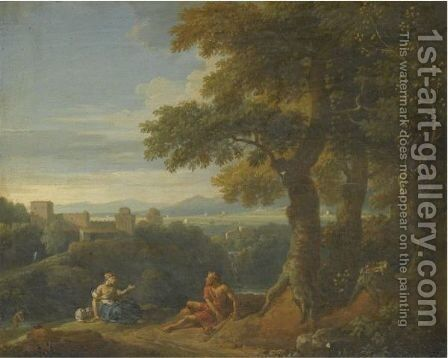 An Italianate Landscape With Two Figures Resting In The Foreground by Jan Frans van Orizzonte (see Bloemen) - Reproduction Oil Painting