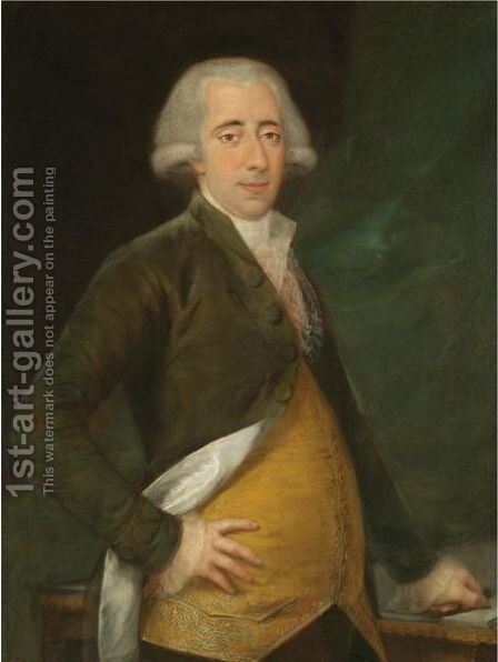 Portrait Of A Gentleman, Three Quarter Length, Wearing A Yellow Waistcoat And Green Coat by (after) Agustin Esteve Y Marques - Reproduction Oil Painting