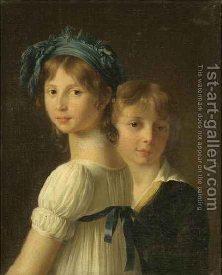 Portrait Of A Sister And Her Younger Brother by Marie-Victoire Lemoine - Reproduction Oil Painting