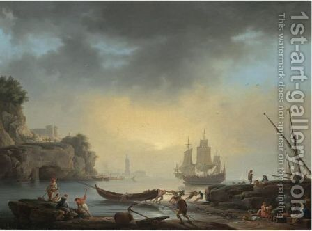 A Mediterranean Coastal Scene With Fishermen Bringing In Their Boats And A Man Of War At Anchor Beyond by Claude-joseph Vernet - Reproduction Oil Painting