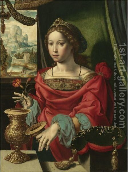 The Magdalene Seated At A Table By A Window, Opening A Gold-Encrusted Urn by Belgian Unknown Masters - Reproduction Oil Painting