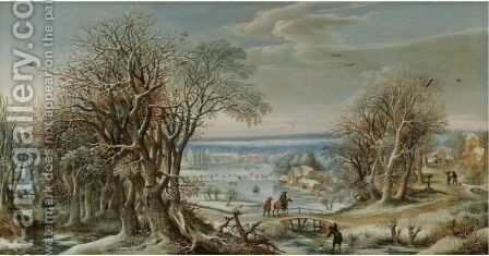 A View Of The Abbey Of Groenendael Near Brussels In Winter by Denys Van Alsloot - Reproduction Oil Painting