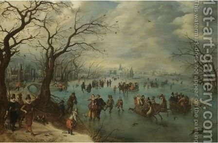 A Winter Landscape With Figures Skating On A Frozen River, Prince Maurits Of Orange-Nassau With A Hunting Party In The Foreground by Adriaen Pietersz. Van De Venne - Reproduction Oil Painting