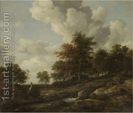 Wooded Landscape With A Rocky Stream by Jacob Van Ruisdael - Reproduction Oil Painting