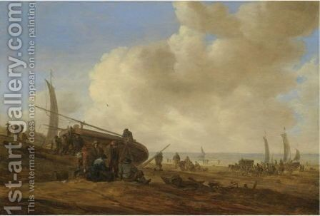 A Beach Scene, Possibly At Egmond-Aan-Zee, With Figures Pushing Off An Unrigged Fishing Pink by Jan van Goyen - Reproduction Oil Painting