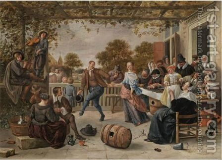 A Terrace With A Couple Dancing To A Pipe And Fiddle, Peasants Eating And Merrymaking Behind by Jan Havicksz. Steen - Reproduction Oil Painting