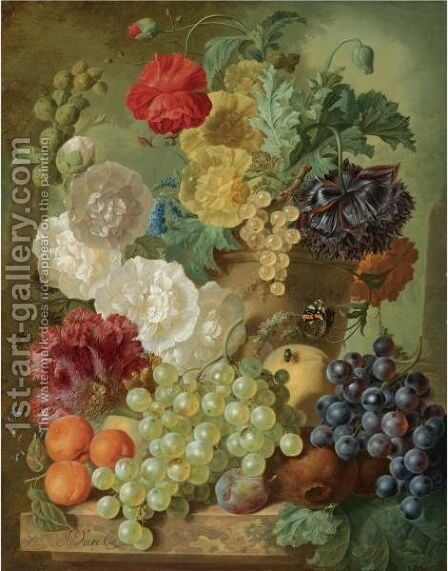 A Still Life With Hollyhocks, Poppies, An Anemone, Other Flowers And White-Currants In A Terracotta Vase by Jan van Os - Reproduction Oil Painting