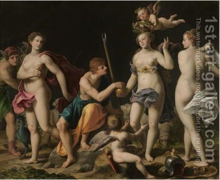 The Judgement Of Paris by Alessandro Turchi (Orbetto) - Reproduction Oil Painting