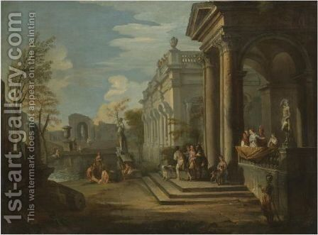 An Architectural Capriccio With Figures At A Balcony And Bathers In A Pool Nearby by Giovanni Paolo Panini - Reproduction Oil Painting