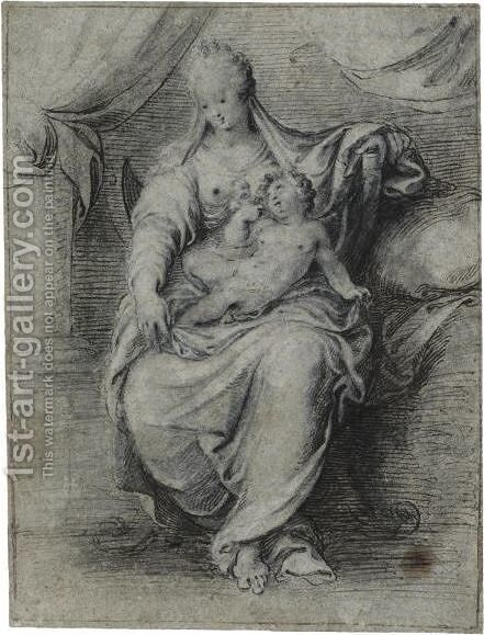 The Madonna And Child, Seated On A Throne In The Shape Of A Savonarola Chair, A Draped Curtain Behind Them by Isaac Oliver - Reproduction Oil Painting