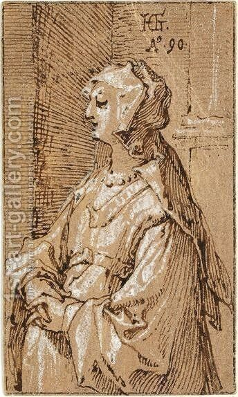 Standing Woman With A Veil by Hendrick Goltzius - Reproduction Oil Painting