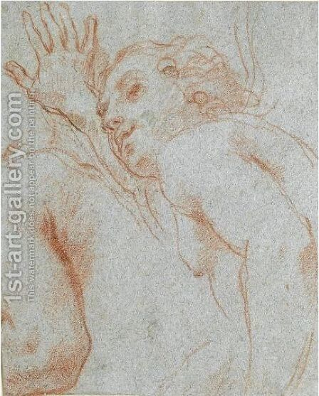 Half-Length Study Of A Running Figure, With A Secondary Study Of An Arm And Shoulder by (after) Carlo Maratta Or Maratti - Reproduction Oil Painting
