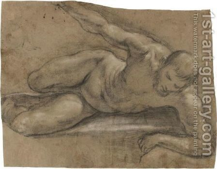 Reclining Nude, Turned To The Right by Central Italian School - Reproduction Oil Painting