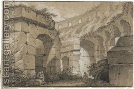 Interior Of The Colosseum, With Seated Figures by Charles Michel-Ange Challe - Reproduction Oil Painting