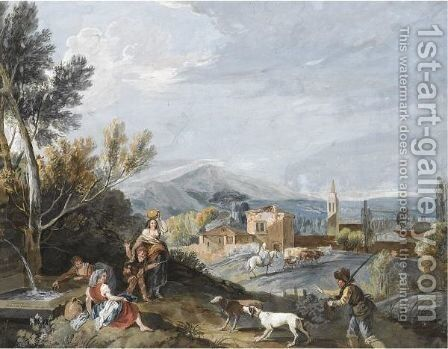 Landscape With Peasants By A Roadside Fountain by Antonio Zucchi - Reproduction Oil Painting