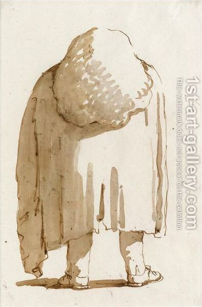 Caricature Of A Man Wearing A Large Wig And A Heavy Cloak Seen From Behind by Giovanni Battista Tiepolo - Reproduction Oil Painting