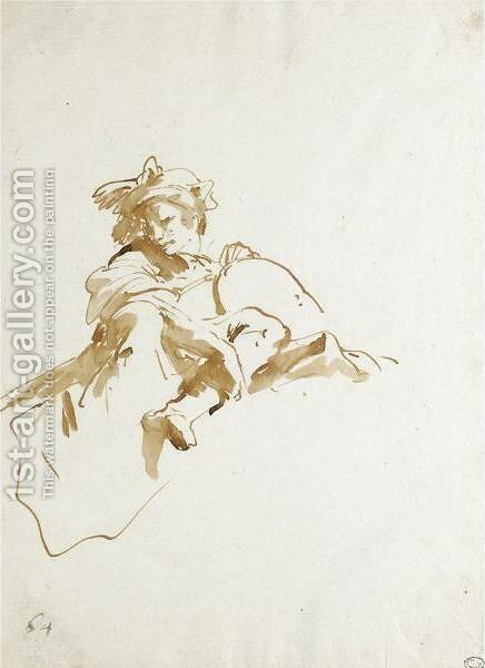 A Seated Figure Seen From Below, A Scarf Tied Around His Head by Giovanni Battista Tiepolo - Reproduction Oil Painting