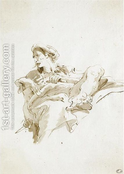 A Seated Oriental Figure, Seen From Below by Giovanni Battista Tiepolo - Reproduction Oil Painting