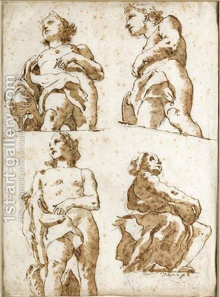 Four Partially Draped Allegorical Figures Seen From Below by Giovanni Domenico Tiepolo - Reproduction Oil Painting