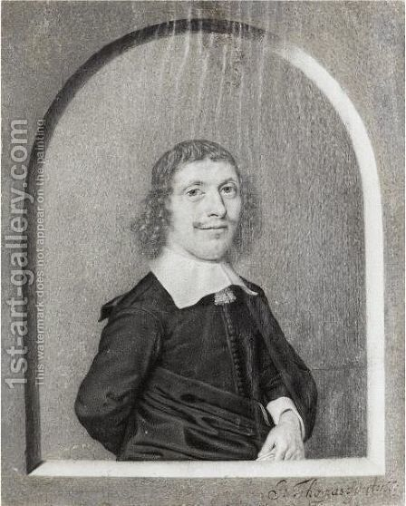 Portrait Of A Man, Half Length, Within A Drawn Niche by Johan Thopas - Reproduction Oil Painting