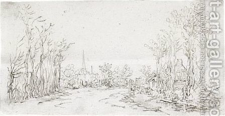 View Of A Road Entering A Village, With A Church Spire In The Background by Jan van Goyen - Reproduction Oil Painting