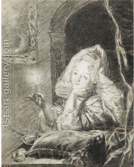 A Young Woman Seated At A Table, Holding A Candle Between Her Fingers by Godfried Schalcken - Reproduction Oil Painting