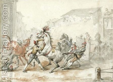 Preparing Horses For The Riderless Race In Rome by Carle Vernet - Reproduction Oil Painting