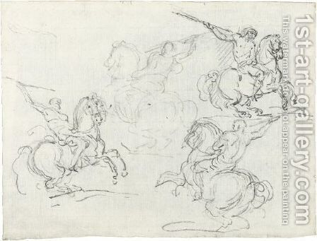 Four Studies Of Horsemen Holding Lances by Theodore Gericault - Reproduction Oil Painting