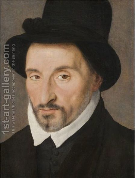 Portrait Of Gentleman, Head And Shoulders, Wearing A Black Tunic With A Black Hat by (after) Clouet, Francois - Reproduction Oil Painting