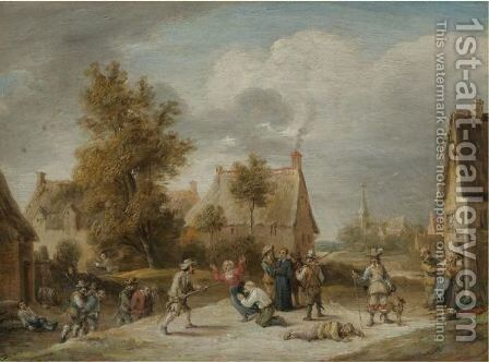 Soldiers Looting A Village by David The Younger Teniers - Reproduction Oil Painting