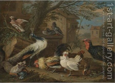 A Farmyard Still Life With A Peacock, Pigeons, Cockerels, And A Fox by Adriaen de Gryef - Reproduction Oil Painting
