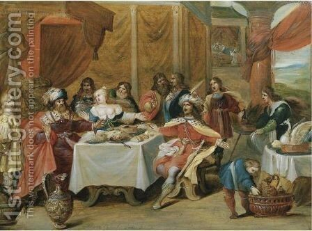 The Banquet Of Esther 2 by (after) Frans II Francken - Reproduction Oil Painting
