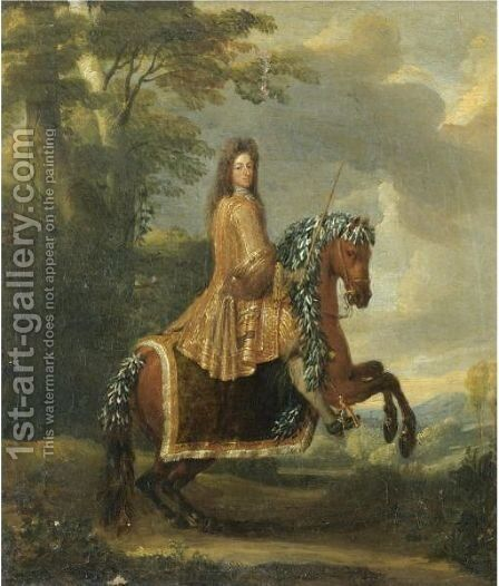 An Equestrian Portrait Of An Elector by (after) Adam Frans Van Der Meulen - Reproduction Oil Painting