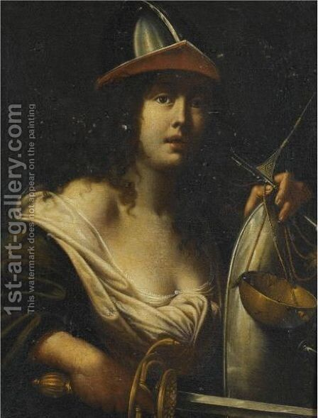 An Allegorical Female Figure Dressed As A Solider by (after) Cesare Dandini - Reproduction Oil Painting