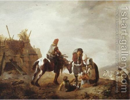 An Italianate Landscape With A Family Of Peasants Resting by Dirck Willemsz. Stoop - Reproduction Oil Painting