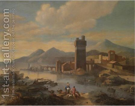 An Estuary Scene With Drovers And A Classicising Town Beyond by (after) Nicolaes Berchem - Reproduction Oil Painting