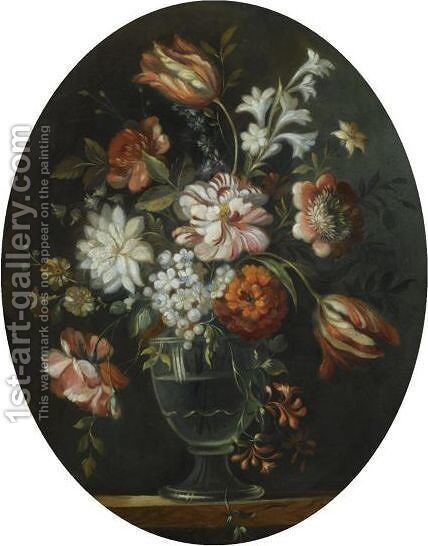 A Still Life With A Bouquet Of Flowers In A Glass Vase by Dutch School - Reproduction Oil Painting