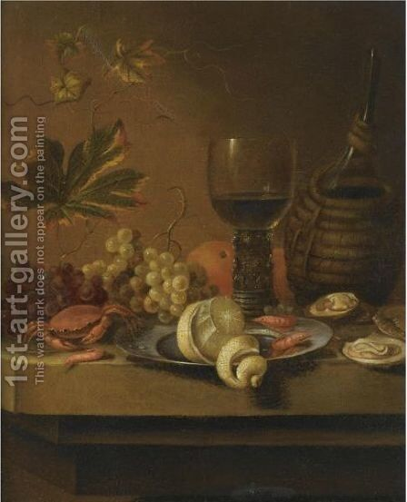 A Still Life With A Peeled Lemon On Pewter Plate With Oranges, Prawns, Oysters, A Crab by Dirck Sauts - Reproduction Oil Painting