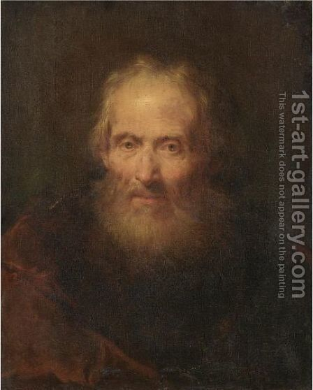 Portrait Of A Man, Head And Shoulders, Wearing A Red Cape by Giuseppe Nogari - Reproduction Oil Painting