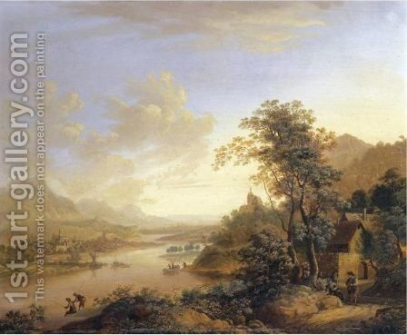 A River Landscape With Settlements On Both Banks And Fishermen by (after) Christian Georg II Schutz Or Schuz - Reproduction Oil Painting