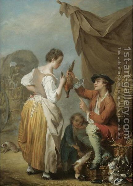 A Woman And A Man Bargaining Over A Pheasant by Jean Baptiste (or Joseph) Charpentier - Reproduction Oil Painting