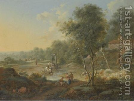 An Extensive Wooded Landscape With Figures By A Ford by Johann Christian Vollerdt or Vollaert - Reproduction Oil Painting