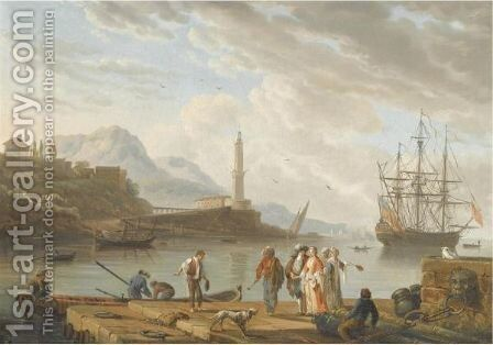 A Mediterranean Harbour Scene With Figures Conversing In The Foreground by (after) Charles Francois Lacroix De Marseille - Reproduction Oil Painting