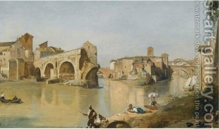 Rome A View Of The Ponte Rotto Over The River Tiber by Italian School - Reproduction Oil Painting