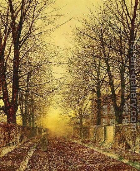 A Golden Country Road by John Atkinson Grimshaw - Reproduction Oil Painting