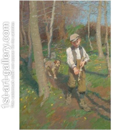 Boy Whittling A Stick by Harvey Harold - Reproduction Oil Painting