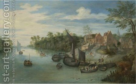 River Landscape With Boats Moored By A Village by Jan, the Younger Brueghel - Reproduction Oil Painting