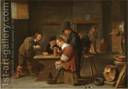 A Tavern Interior With Peasants Drinking, Smoking And Gambling by (after)  David The Younger Teniers - Reproduction Oil Painting